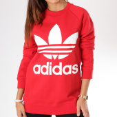 https://www.laboutiqueofficielle.com/achat-sweats-col-rond-crewneck/sweat-oversize-femme-trefoil-dh3140-rouge-blanc-144296.html
