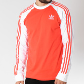 /achat-t-shirts-manches-longues/adidas-tee-shirt-manches-longues-bandes-brodees-3-stripes-dh5796-rouge-blanc-145100.html