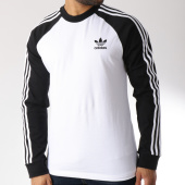 /achat-t-shirts-manches-longues/adidas-tee-shirt-manches-longues-bandes-brodees-3-stripes-dh5793-blanc-noir-145753.html