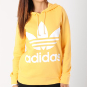 https://www.laboutiqueofficielle.com/achat-sweats-capuche/sweat-capuche-femme-trefoil-dh3138-jaune-orange-146091.html