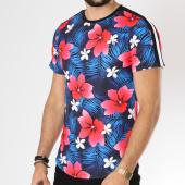 /achat-t-shirts-longs-oversize/uniplay-tee-shirt-oversize-bandes-brodees-t363-noir-bleu-clair-floral-146365.html