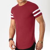 /achat-t-shirts-longs-oversize/lbo-tee-shirt-oversize-avec-bandes-blanches-469-bordeaux-146785.html