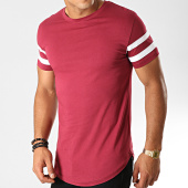 /achat-t-shirts-longs-oversize/lbo-tee-shirt-oversize-avec-bandes-blanches-469-bordeaux-146785.html