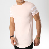 /achat-t-shirts-longs-oversize/lbo-tee-shirt-oversize-avec-bandes-blanches-470-rose-pale-146786.html