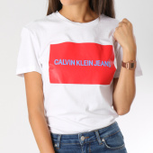 /achat-t-shirts/calvin-klein-tee-shirt-femme-institutionnal-box-logo-7948-blanc-rouge-146818.html