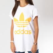 /achat-t-shirts-longs-oversize/adidas-tee-shirt-oversize-femme-big-trefoil-dh3165-blanc-orange-147138.html