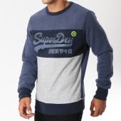 /achat-sweats-col-rond-crewneck/superdry-sweat-crewneck-vintage-logo-panel-bleu-marine-chine-gris-chine-147182.html