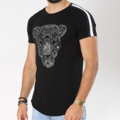 /achat-t-shirts-longs-oversize/vip-clothing-tee-shirt-oversize-bandes-brodees-1901-noir-blanc-147306.html