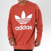 /achat-sweats-col-rond-crewneck/adidas-sweat-crewneck-oversize-trefoil-dh5771-rouge-brique-147843.html