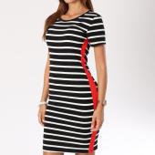 /achat-robes/girls-only-robe-longue-femme-avec-bandes-1808-noir-blanc-148132.html
