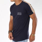 /achat-t-shirts-longs-oversize/304-clothing-tee-shirt-oversize-bande-brodee-franco-bleu-marine-beige-148478.html