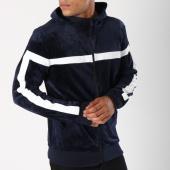 /achat-sweats-zippes-capuche/terance-kole-sweat-zippe-capuche-velours-avec-bandes-98166-bleu-marine-149213.html