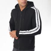 /achat-sweats-zippes-capuche/antony-morato-sweat-zippee-capuche-bandes-brodees-mmfl00434-noir-blanc-150047.html