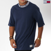 /achat-t-shirts-longs-oversize/tommy-hilfiger-jeans-tee-shirt-oversize-band-collar-5104-bleu-marine-150070.html