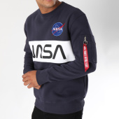 /achat-sweats-col-rond-crewneck/alpha-industries-sweat-crewneck-avec-poche-bomber-nasa-inlay-bleu-marine-150356.html