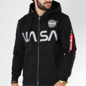 /achat-sweats-zippes-capuche/alpha-industries-sweat-zippe-capuche-avec-poche-bomber-nasa-noir-150359.html
