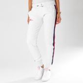 Superdry - Pantalon Jogging Femme Avec Bandes Diamond Label Gris Clair Chiné 4e4d0b9f15d