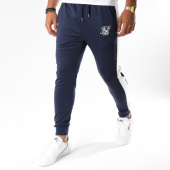 /achat-pantalons-joggings/siksilk-pantalon-jogging-avec-bandes-cuffed-13588-bleu-marine-blanc-150981.html
