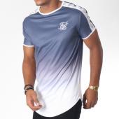 /achat-t-shirts-longs-oversize/siksilk-tee-shirt-oversize-degrade-avec-bandes-taped-fade-gym-bleu-marine-blanc-150987.html
