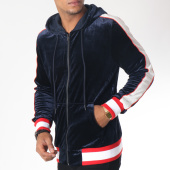 /achat-sweats-zippes-capuche/terance-kole-sweat-zippe-capuche-velours-98160-bleu-marine-blanc-rouge-151083.html