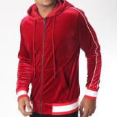 /achat-sweats-zippes-capuche/terance-kole-sweat-zippe-capuche-velours-98160-rouge-blanc-151085.html