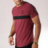 /achat-t-shirts-longs-oversize/final-club-tee-shirt-premium-fit-avec-bande-et-broderie-088-bordeaux-151307.html