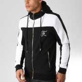 /achat-sweats-zippes-capuche/final-club-sweat-zippe-capuche-tricolore-avec-broderie-077-blanc-noir-or-151309.html