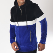 /achat-sweats-capuche/ikao-sweat-capuche-velours-f206-noir-bleu-roi-blanc-151416.html
