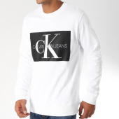 /achat-sweats-col-rond-crewneck/calvin-klein-sweat-crewneck-monogram-box-logo-7746-blanc-noir-152452.html