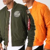 /achat-bombers/alpha-industries-bomber-reversible-patchs-brodes-nasa-vert-kaki-orange-152568.html