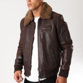 /achat-vestes-cuir/redskins-veste-cuir-col-mouton-poche-bomber-commander-togo-marron-153363.html