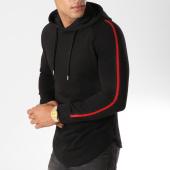 /achat-sweats-capuche/lbo-sweat-capuche-oversize-avec-bandes-500-noir-rouge-154008.html