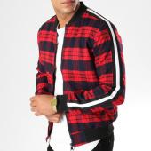 /achat-vestes/john-h-veste-zippee-carreaux-avec-bandes-367-rouge-bleu-marine-154142.html
