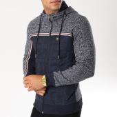 /achat-sweats-zippes-capuche/classic-series-sweat-zippe-capuche-avec-bande-8586-bleu-marine-154481.html