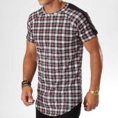 /achat-t-shirts-longs-oversize/frilivin-tee-shirt-oversize-a-carreaux-avec-bandes-5122-noir-bordeaux-155039.html