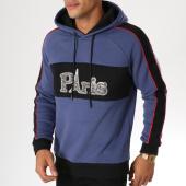 /achat-sweats-capuche/john-h-sweat-capuche-avec-bandes-998-bleu-marine-noir-rouge-155146.html