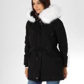 /achat-parkas/sixth-june-parka-fourrure-femme-avec-bandes-w3328sow-noir-blanc-155138.html