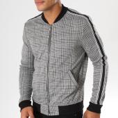 /achat-vestes/terance-kole-veste-zippee-a-carreaux-avec-bandes-tk1058-noir-blanc-155203.html