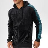 /achat-sweats-zippes-capuche/fila-sweat-zippe-capuche-velours-avec-bandes-king-684430-noir-155259.html