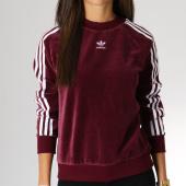 /achat-sweats-col-rond-crewneck/adidas-sweat-crewneck-femme-velours-trefoil-dh3112-bordeaux-155394.html