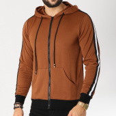 /achat-sweats-zippes-capuche/terance-kole-sweat-zippe-capuche-avec-bandes-a1703-marron-155544.html