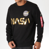 /achat-sweats-col-rond-crewneck/alpha-industries-sweat-crewneck-avec-poche-bomber-nasa-reflective-noir-dore-155613.html