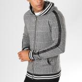 /achat-sweats-zippes-capuche/ikao-sweat-zippe-capuche-carreaux-avec-bandes-f213-noir-blanc-155849.html
