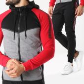 /achat-sweats-zippes-capuche/zayne-paris-ensemble-de-survetement-tx-142-noir-gris-chine-rouge-156090.html