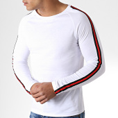 /achat-t-shirts-manches-longues/lbo-tee-shirt-manches-longues-avec-bandes-noir-et-rouge-532-blanc-156326.html