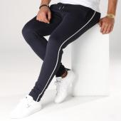 /achat-pantalons-carreaux/lbo-pantalon-avec-bandes-noir-et-blanche-558-bleu-marine-156872.html