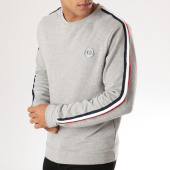/achat-sweats-col-rond-crewneck/la-maison-blaggio-sweat-crewneck-bandes-brodees-atala-gris-chine-156904.html