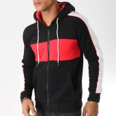 /achat-sweats-zippes-capuche/john-h-sweat-zippe-capuche-avec-bandes-381-noir-blanc-rouge-157322.html