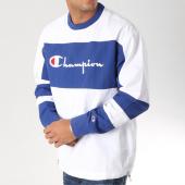 /achat-sweats-col-rond-crewneck/champion-sweat-crewneck-212388-blanc-bleu-157477.html