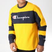 /achat-sweats-col-rond-crewneck/champion-sweat-crewneck-212388-jaune-bleu-marine-157478.html